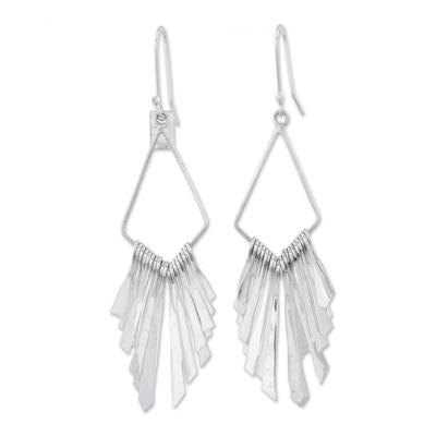 Elegant Sterling Silver Diamond Dangle Earrings with Fringe