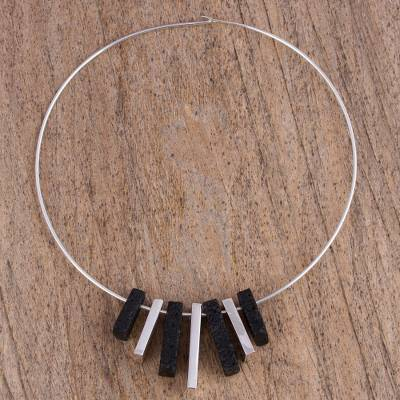 Lava stone and sterling silver pendant necklace, 'Starting Blocks' - Sterling Silver and Lava Stone Pendant Necklace from Mexico