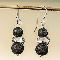 Lava stone and sterling silver dangle earrings, 'Stellar Equilibrium' - Sterling Silver and Lava Stone Dangle Earrings from Mexico