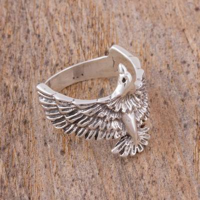 Men's sterling silver ring, 'Bird in Flight' - Men's Sterling Silver Eagle Ring from Mexico