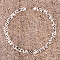 Sterling silver collar necklace, 'Open Space' - Artisan Crafted Sterling Silver Collar Necklace from Mexico