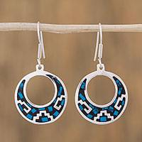 Turquoise dangle earrings, 'Windows of History' - Geometric Turquoise Dangle Earrings from Mexico