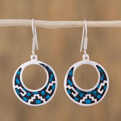Novica Sterling silver dangle earrings, Lunar Windows