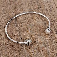 Featured review for Sterling silver cuff bracelet, Skulls of Tradition