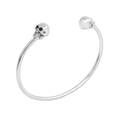 Sterling silver cuff bracelet, 'Skulls of Tradition' - Sterling Silver Cuff Bracelet with Skulls from Mexico