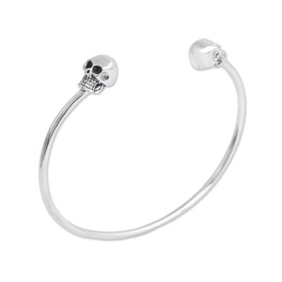 Sterling silver cuff bracelet, 'Skulls of Tradition' - Sterling Silver Cuff Bracelet with Skulls from Mexico