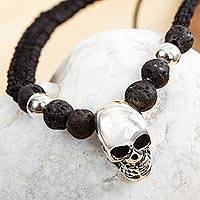Men's sterling silver pendant bracelet, 'Skull in the Dark' - Men's Sterling Silver Skull Pendant Bracelet from Mexico