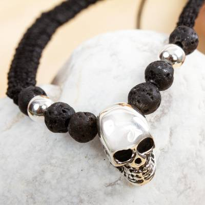 Sterling silver skull pendant bracelet from mexico skull in the sterling silver pendant bracelet skull in the dark sterling silver skull pendant mozeypictures Image collections
