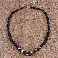 Lava stone and sterling silver beaded necklace, 'Complementary Textures' - Sterling Silver and Lava Stone Beaded Necklace from Mexico