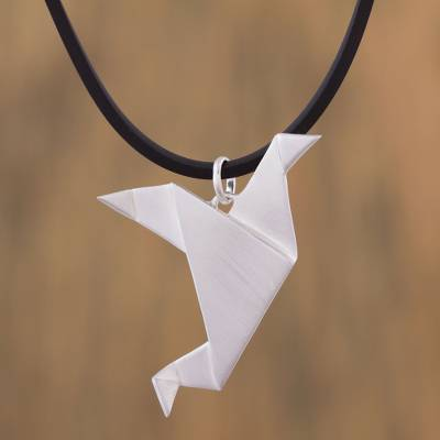 Sterling silver pendant necklace, 'Flying Origami Dove' - Sterling Silver Origami Bird Pendant Necklace from Mexico