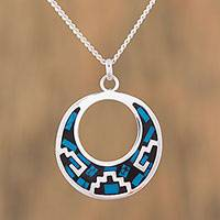 Turquoise pendant necklace, 'Window of History'