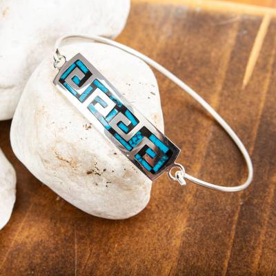 Turquoise pendant bracelet, 'Waves of the Ocean' - Turquoise Wave Motif Pendant Bracelet from Mexico