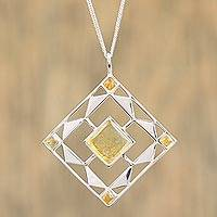 Amber pendant necklace, 'Honeyed Rhombus' - Cultured Mabe Pearl and Sterling Silver Necklace from Mexico