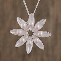 Cultured Akoya pearl pendant necklace, 'Flower Song' - Floral Cultured Akoya Pearl Pendant Necklace from Mexico