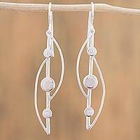 Sterling silver dangle earrings, 'Elegant Abstraction' - Modern Sterling Silver Dangle Earrings from Mexico