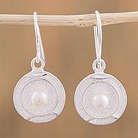 Cultured pearl dangle earrings, 'Glowing Round' - Circular Cultured Pearl Dangle Earrings from Mexico