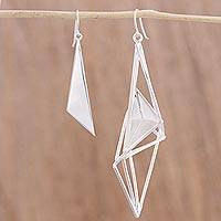 Sterling silver dangle earrings, 'Lucid Geometry' - Sterling Silver Geometric Dangle Earrings from Mexico