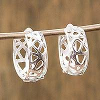 Sterling silver half-hoop earrings, 'Subtle Webs' - Openwork Sterling Silver Half-Hoop Earrings from Mexico