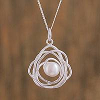 Cultured pearl pendant necklace, 'Elliptical Refuge' - Cultured Mabe Pearl and Sterling Silver Necklace from Mexico