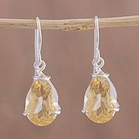 Citrine dangle earrings, 'Sparkling Sunshine' - Citrine Teardrop Dangle Earrings from Mexico