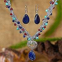 Multi-gem jewelry set, 'Colorful Exuberance' - Multi Gem Beaded Necklace and Earring Set from Mexico