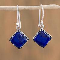 Lapis lazuli dangle earrings, 'Blue Crowns' - Square Lapis Lazuli Dangle Earrings from Mexico