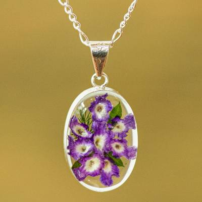 Natural flower pendant necklace, Enduring Flowers