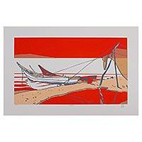 'Chapala' (2005) - Bold Red-Orange Silkscreen Print of Mexico's Lake Chapala