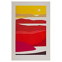 'The Coast' (2005) - Silkscreen Print of the Mexican Seashore in Tropical Colors