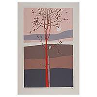 'Little Tree' (2005) - 35-Inch Mexico Tree and Landscape Silkscreen Print