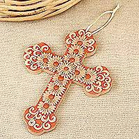 Ceramic wall cross, 'Sanctified Land' - Handmade Floral Ceramic Wall Cross from Mexico