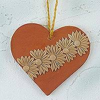 Ceramic wall art, 'Ancestral Heartbeat' - Handcrafted Floral Ceramic Wall Art from Mexico