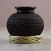 Ceramic decorative vase, 'Oaxaca Tradition' - Handcrafted Barro Negro Ceramic Decorative Vase from Mexico