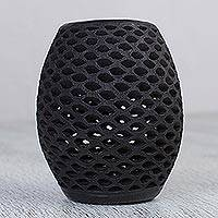 Ceramic lantern, 'Clay Tradition' - Handcrafted Black Ceramic Lantern from Mexico
