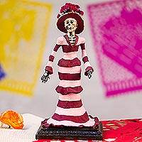 Papier mache sculpture, 'Striped Catrina' - Papier Mache Catrina Sculpture with Stripes from Mexico