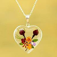 Natural flower pendant necklace, 'Flowering Heart' - Heart-Shaped Natural Flower Pendant Necklace from Mexico