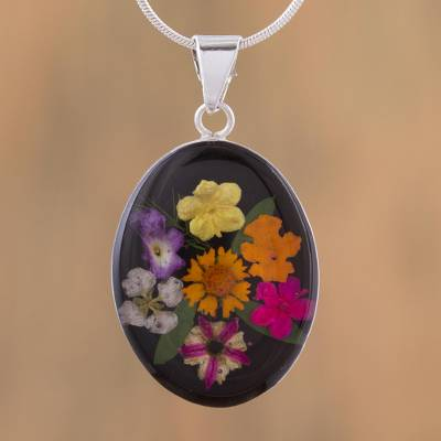 Natural flower pendant necklace, 'Colorful Bouquet' - Oval Natural Flower Pendant Necklace from Mexico