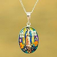 Natural flower pendant necklace, 'Floral Guadalupe' - Religious Natural Flower Pendant Necklace from Mexico