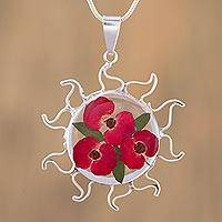 Natural flower pendant necklace, 'Reminder of Home' - Natural Flower Orchid Pendant Necklace from Mexico
