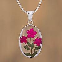 Natural flower pendant necklace, 'Freshness of Nature' - Pink Natural Flower Pendant Necklace from Mexico