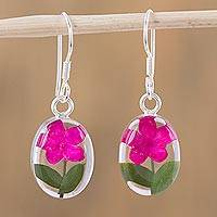 Natural flower dangle earrings, 'Freshness of Nature' - Pink Natural Flower Dangle Earrings from Mexico