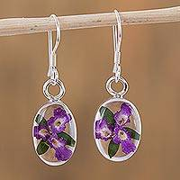 Natural flower dangle earrings, 'Enduring Flowers' - Purple Natural Flower Dangle Earrings from Mexico