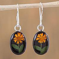 Natural flower dangle earrings, 'Sunny Sunflowers' - Natural Flower Sunflower Dangle Earrings from Mexico