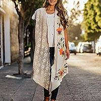 Cotton sleeveless kimono jacket, 'Beige Flowers and Lace' - Beige Cotton Hand Painted Sleeveless Kimono Jacket