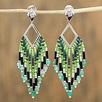 Agate waterfall earrings, 'Green Diamond' - Glass Beaded Green Agate Waterfall Earrings from Mexico