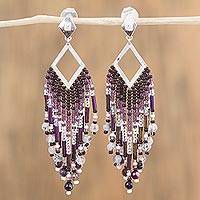 Agate waterfall earrings, 'Natural Diamond' - Agate and Sterling Silver Waterfall Earrings from Mexico