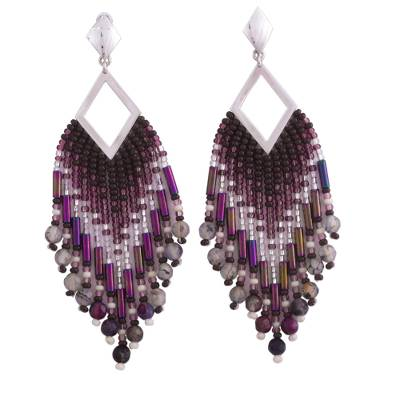 Agate and Sterling Silver Waterfall Earrings from Mexico
