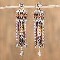 Sterling silver waterfall earrings, 'Country Tradition' - Sterling Silver and Glass Bead Earrings from Mexico