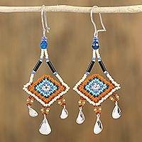 Beaded dangle earrings, 'Dream of Ixchel' - Agate and Glass Bead Dangle Earrings from Mexico