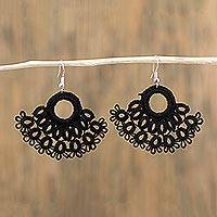Cotton dangle earrings, 'Tatting with Tradition' - Tatted Cotton Dangle Earrings in Ebony from Mexico